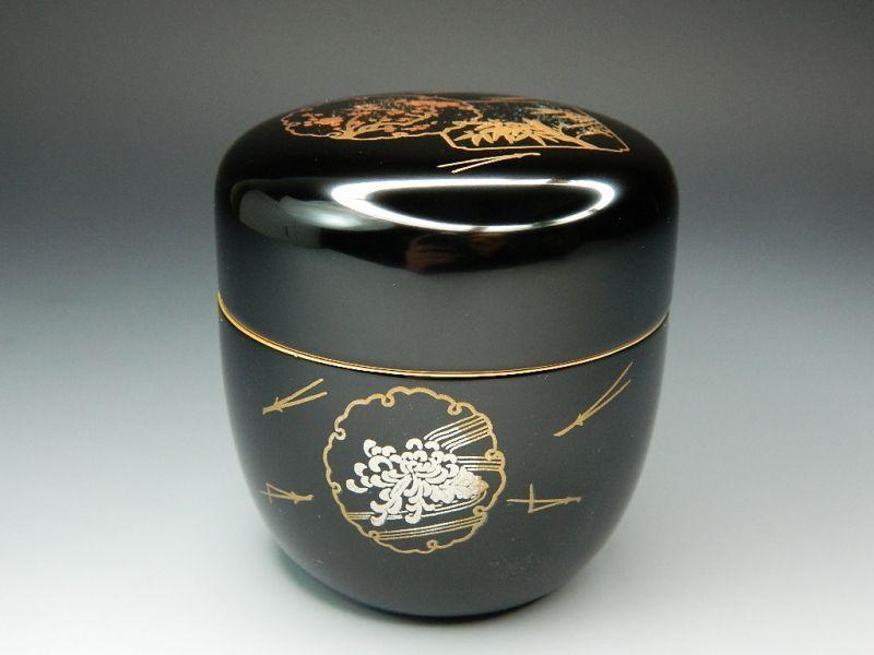 画像1: 茶道具 木製木乾 四君子蒔絵 黒塗 中棗(ちゅうなつめ)