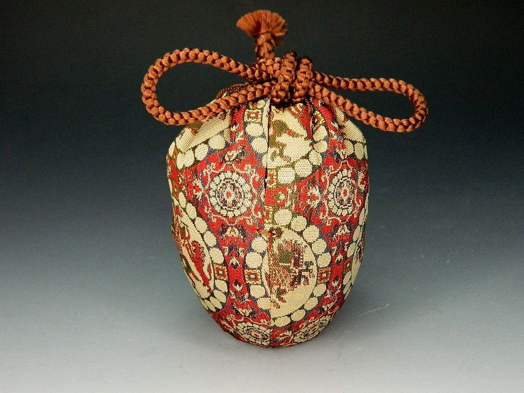 画像1: 茶道具 肩衝茶入 龍村美術織物 獅子狩文錦 濃茶器 濃茶入 新品