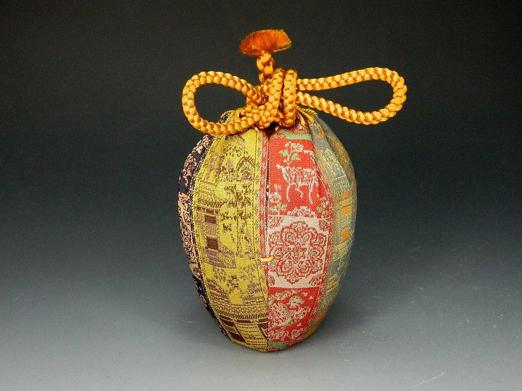 画像1: 茶道具 肩衝茶入 龍村美術織物 紅牙瑞錦 濃茶器 濃茶入 新品