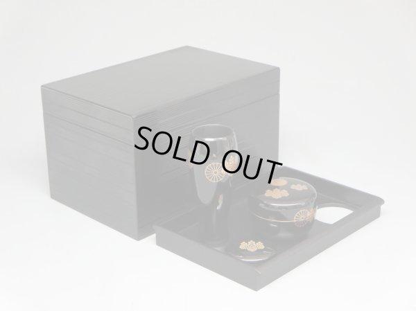 画像3: 茶道具 茶箱 茶箱セット 黒筋入り 高台寺蒔絵 新品