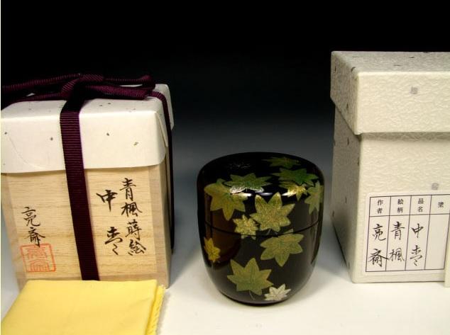 画像1: 茶道具 木製本漆 青楓蒔絵 螺鈿入り 黒塗 中棗 共箱