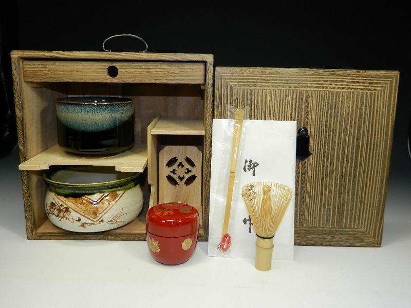 画像1: 茶道具揃え お点前揃え 茶棚付き 茶道具