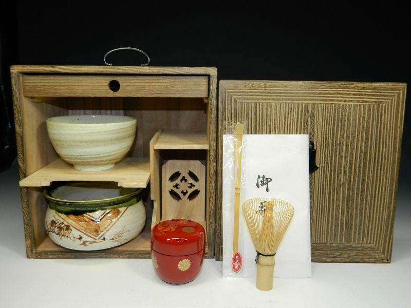 画像2: 茶道具揃え お点前揃え 茶棚付き 茶道具