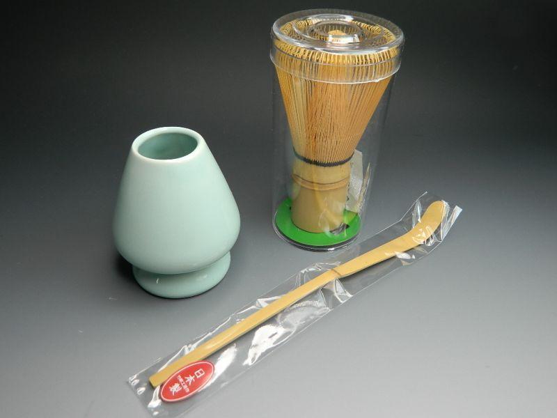 画像2: 抹茶セット  茶筅直しもついてくる お抹茶セット4点 織部焼抹茶碗 茶道具