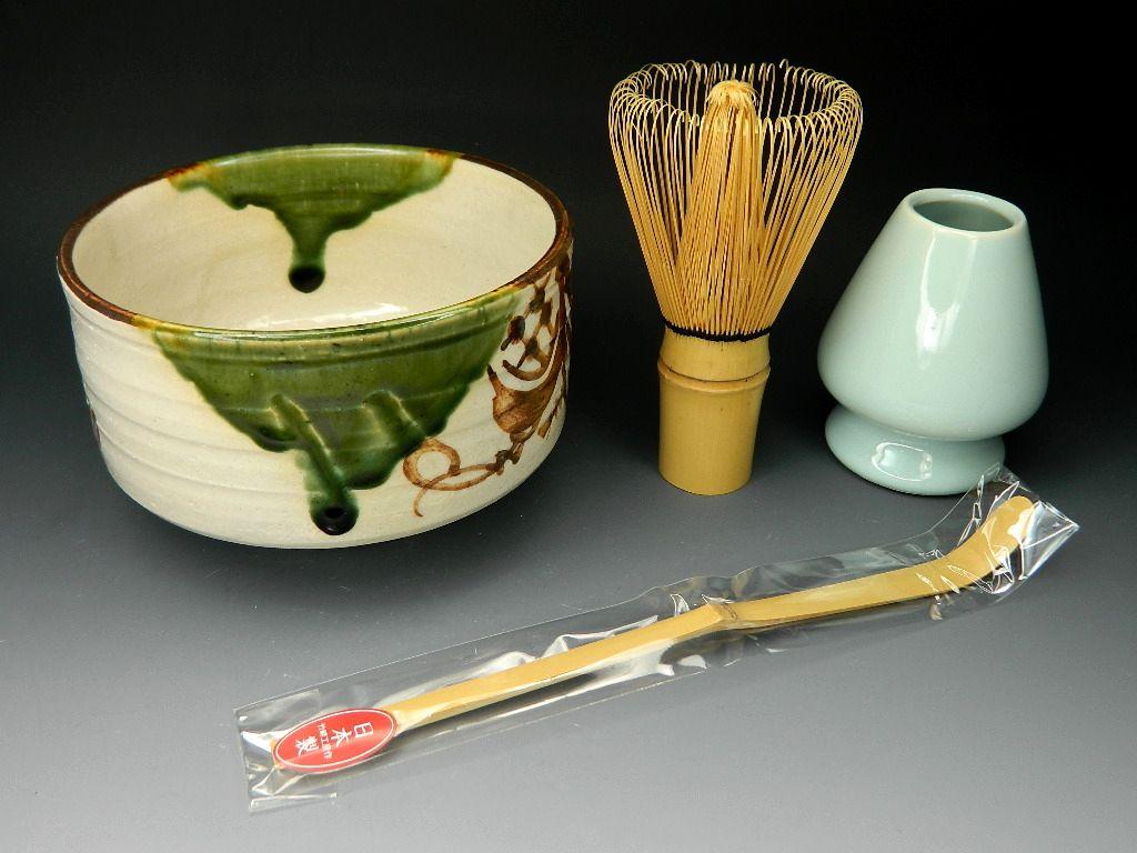 画像1: 抹茶セット  茶筅直しもついてくる お抹茶セット4点 織部焼抹茶碗 茶道具