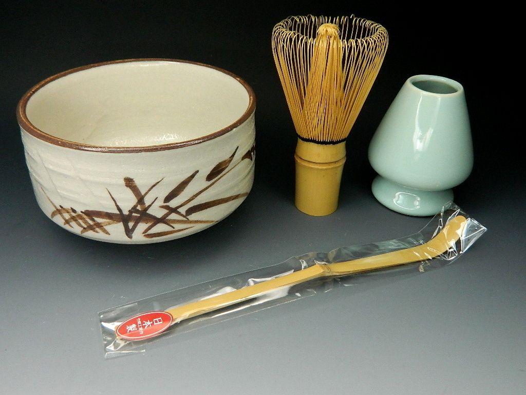 画像1: 抹茶セット  茶筅直しもついてくる お抹茶セット4点 志野焼抹茶碗 茶道具