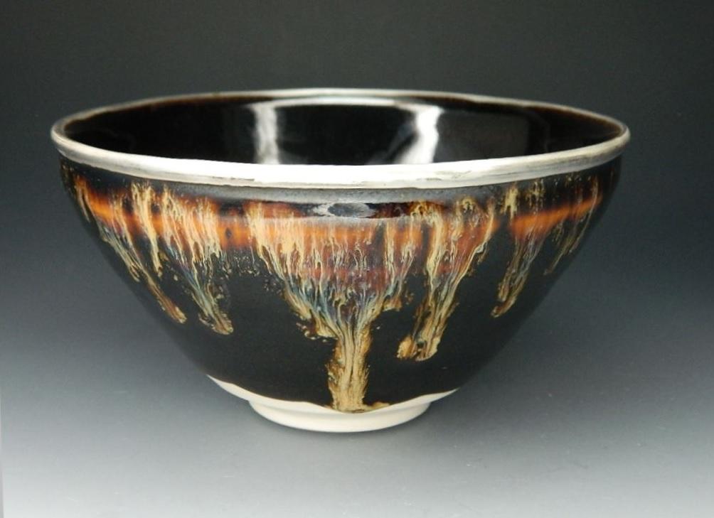 画像1: 天目茶碗(縁:銀仕上げ) 桶谷定一(京都)伝統工芸士 日本の伝統文化 茶道具