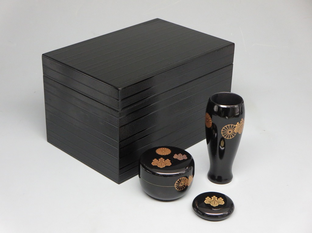画像1: 茶道具 茶箱 茶箱セット 黒筋入り 高台寺蒔絵 新品
